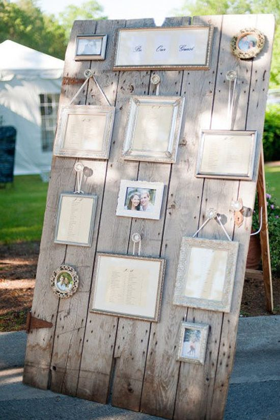 wedding seating plans / vintage styling / shabby chic styling / old photo frames / timber boards / DIY / recycling