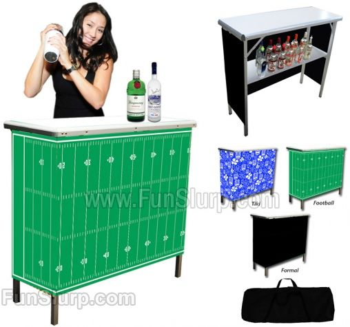 GoBar Portable High Top Bar | FunSlurp This pop-up bar can be set up indoors or outdoors in just a minute and comes with three different skirts to match your event! So cool!  | man cave | outdoor entertaining