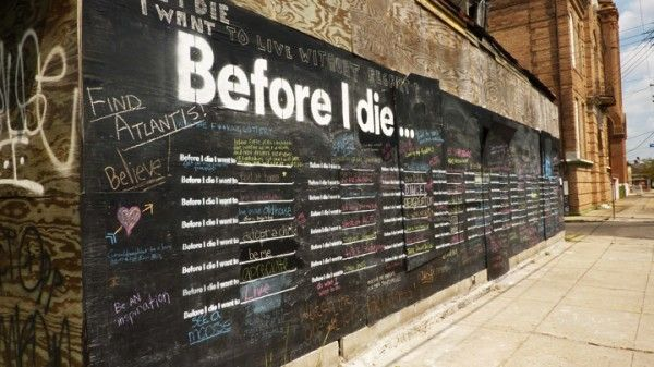 "Candy Chang turned the side of an abandoned house in his neighborhood into a giant chalkboard where residents can write on the wall and remember what is important to them in life. ""Before I Die"" transforms neglected spaces into constructive ones where we can learn the hopes and aspirations of the people around us."
