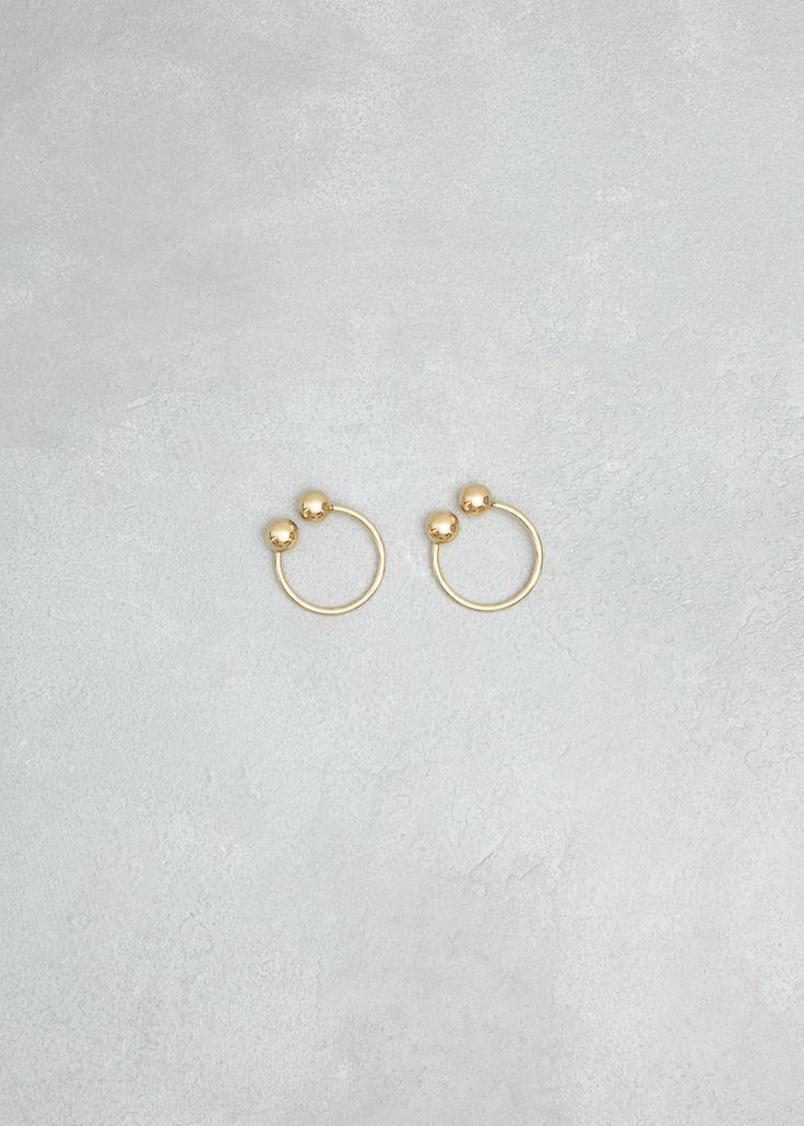 J.W. Anderson Gold Double Ball Hoop Earrings