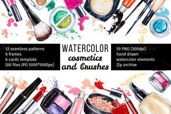 Watercolor cosmetic collection by Svetlana Kazakova on @creativemarket