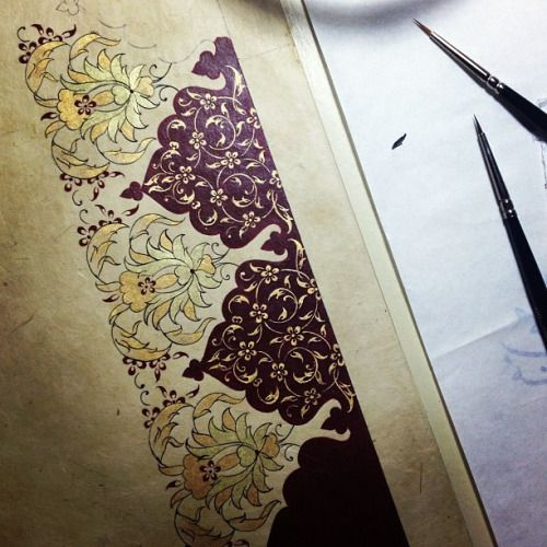 Working #illumination #design #painting #traditionalarts #islamicart #color #handmade #maroon #composition #art #artwork #mywork #istanbul #turkey