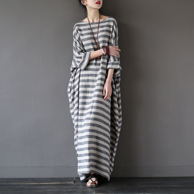 Extravagant Stripe Dress Cotton Linen Oversize Maxi Dress Summer Loose Kaftan Dress E209