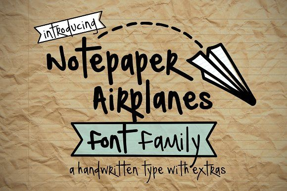 Notepaper Airplanes Font Family by Brittney Murphy Design on @creativemarket