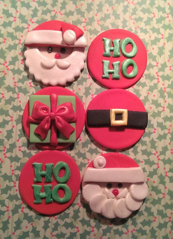 Santa Claus Fondant Cupcake, Cake or Cookie Toppers set of 12 (1 dozen) 2 of each pattern