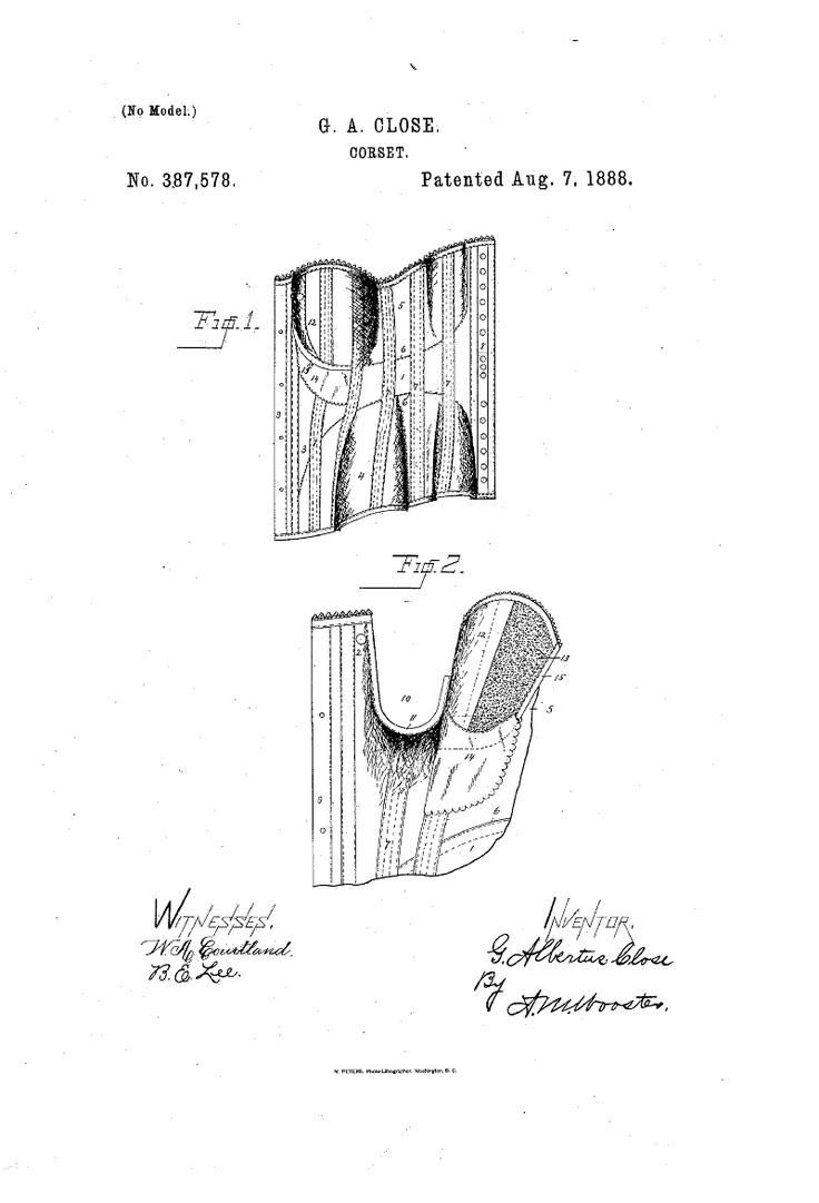 1888 Nursing Corset  US patent 387,578