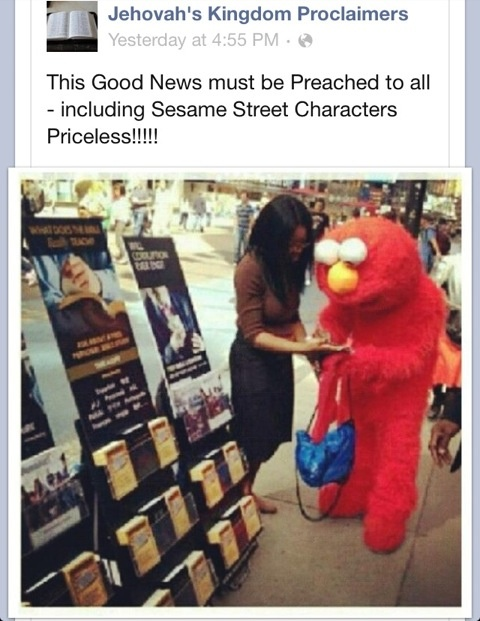 Even Elmo wants to hear the Good News! Love it!