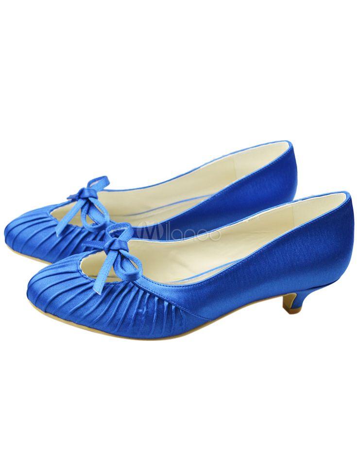 Salto chique gatinho azul redondo sapatos da noiva Toe - Milanoo.com