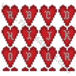 Valentine Heart Alphabet  Bead Pattern By ThreadABead