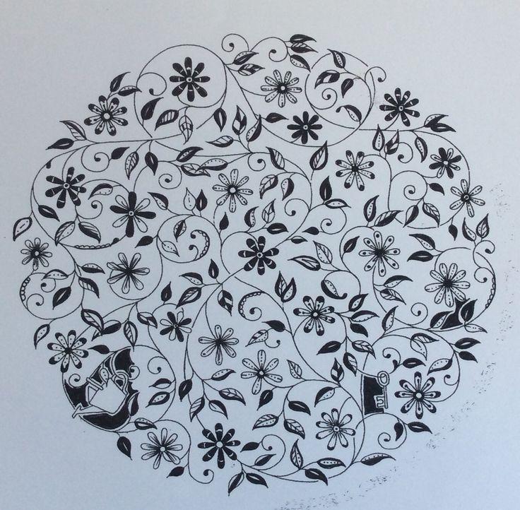Secret Garden by Johanna Basford. Inking by Prue
