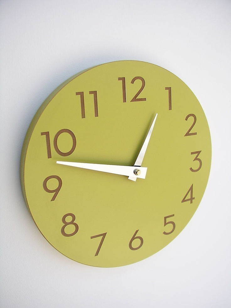 Modern Numbers Clock chartreuse by Uncommon on