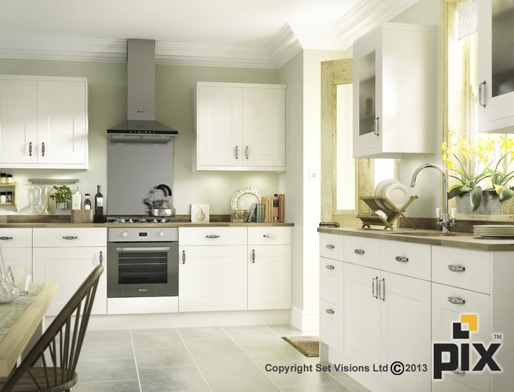 White shaker gloss kitchen with relaxed country styling. Oak worktops with Victorian period features http://www.setvisionspix.co.uk/ Great idea for home renovation