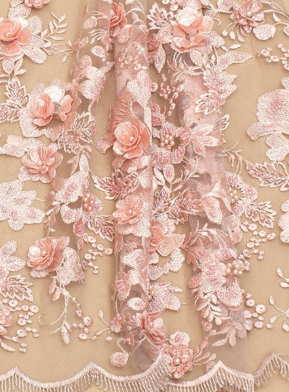 Embroidered Mesh Lace Fabric Peach Sequins Flower Dress Bridal By The Yard