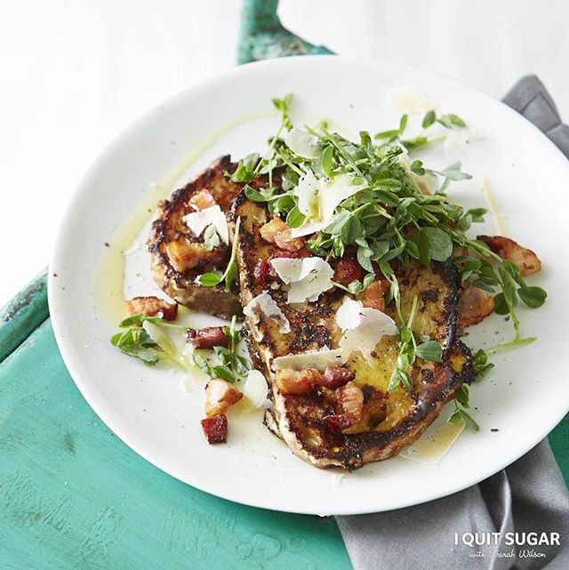 Miso French Toast with Speck + Sprouts. Recipe in the 'I Quit Sugar: Healthy Breakfast Cookbook'