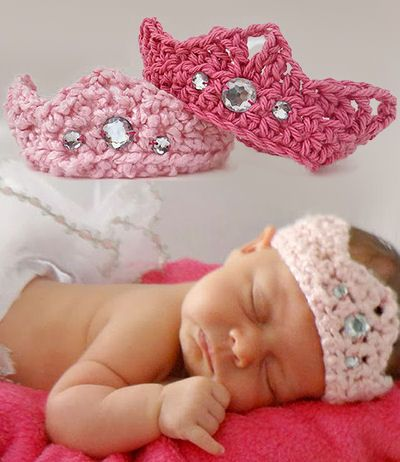 Free crochet pattern. A pretty little prince or baby princess crochet crown pattern with faux jewels. The baby crown can be made and used as a photo prop for the first portrait shoot and then put on display as part of the nursery's decor. Beautiful tasteful baby bling. I love crafts like this that are easy and work up fast and it's a great baby gift idea.