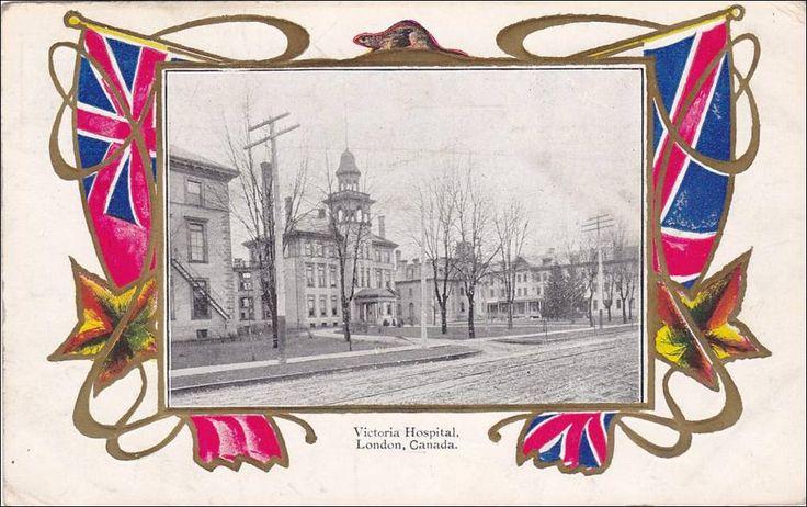 Victoria Hospital London Ontario postcard. Old Hospital at South Street location.