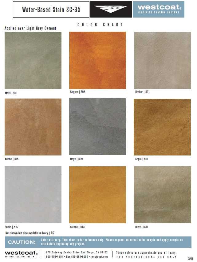 Water based stain sc 35 color chart offered by westcoat for Concrete floor stain colors