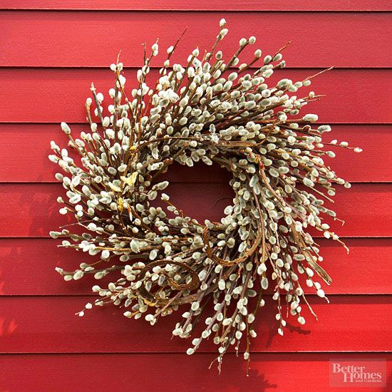This DIY pussy willow wreath is easy to create and will look beautiful on your front door.