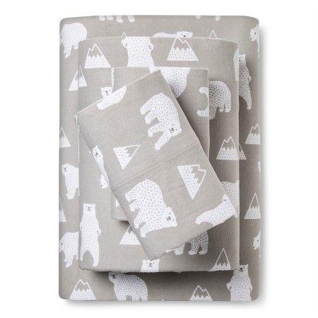Polar Bear Flannel Sheet Set - Pillowfort™ : Target