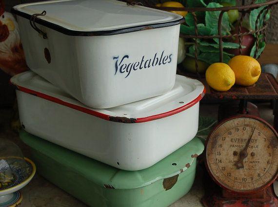 ON VACATION  Vintage Enamelware Vegetable by PatinaVille