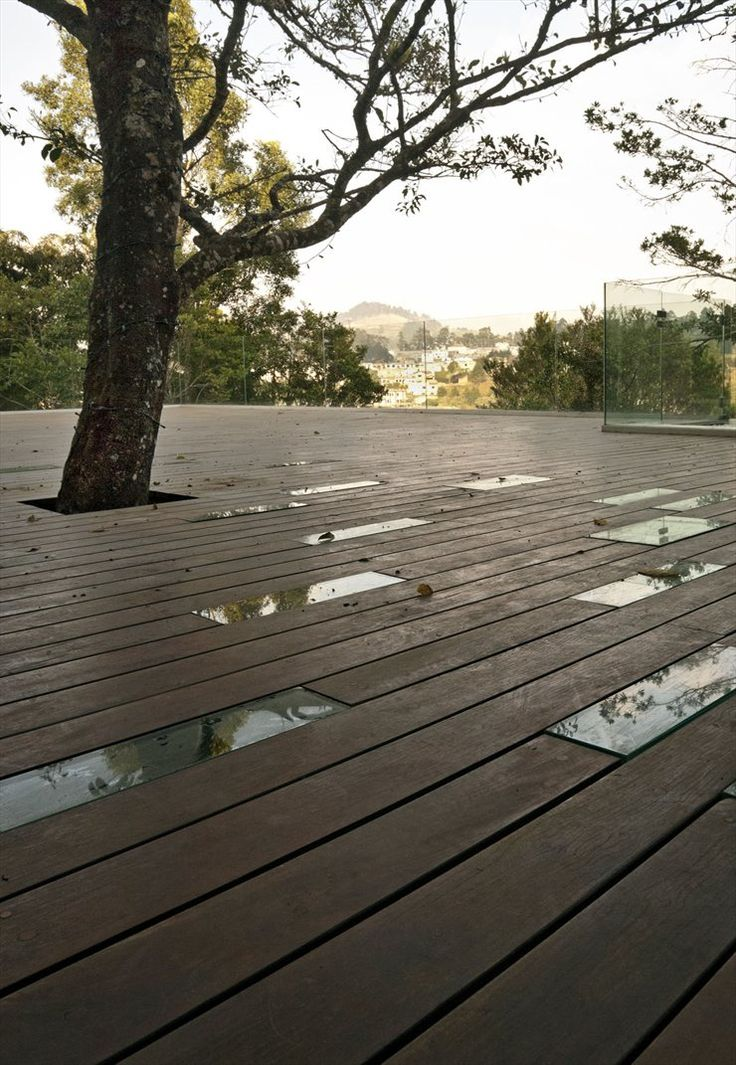 Love how the glass embedded in the deck and the tree poking through disrupt an otherwise plain expanse of decking.