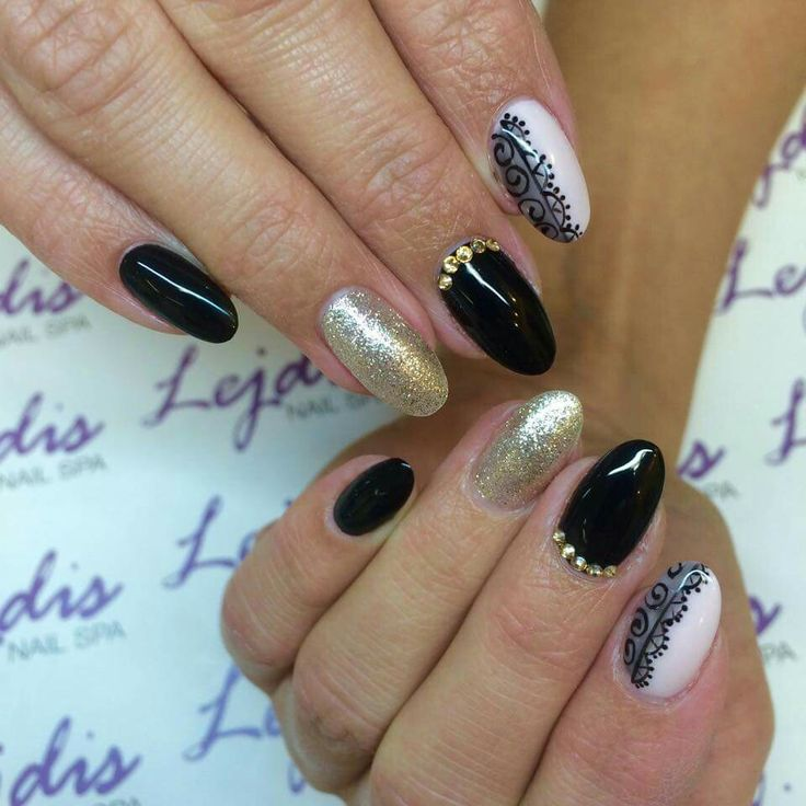 SPN UV LaQ: 503 Black Tulip, 510 Skin Colour, 628 Golden Eye. Nails by Asia, Lejdis Nail SPA #spn #spnnails #inspiracje #paznokcie #naildesign #nailure #nails