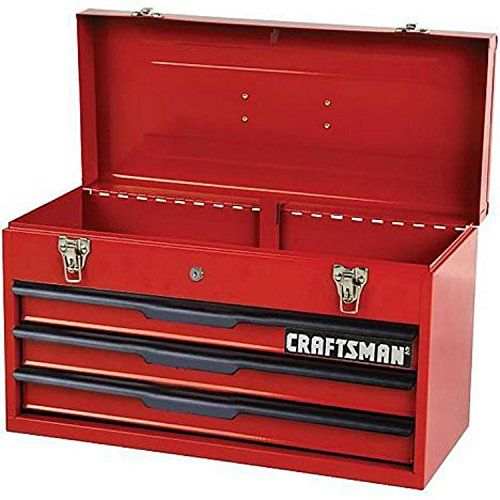 "Craftsman Toolbox | Heavy Duty 3 Drawer Portable Tool Box | 20.5"" Steel Wall Construction 