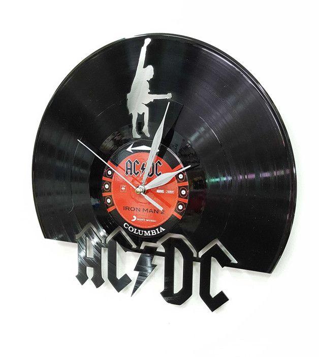 AC-DC Wandkunst – Vinyl-Schallplattenuhr