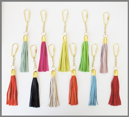 Tassel keychains - could be a cute DIY gift (although mine would not be nearly as fancy!)