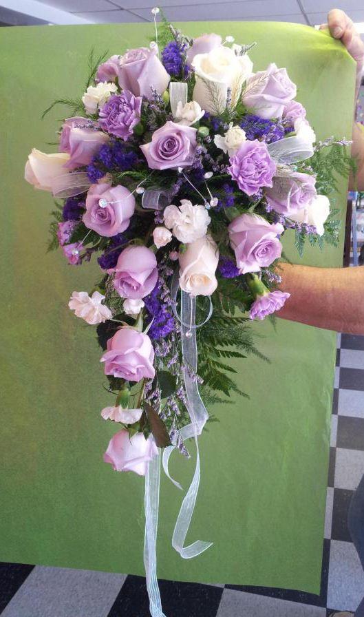 Purple Wedding Cascading Bouquets images