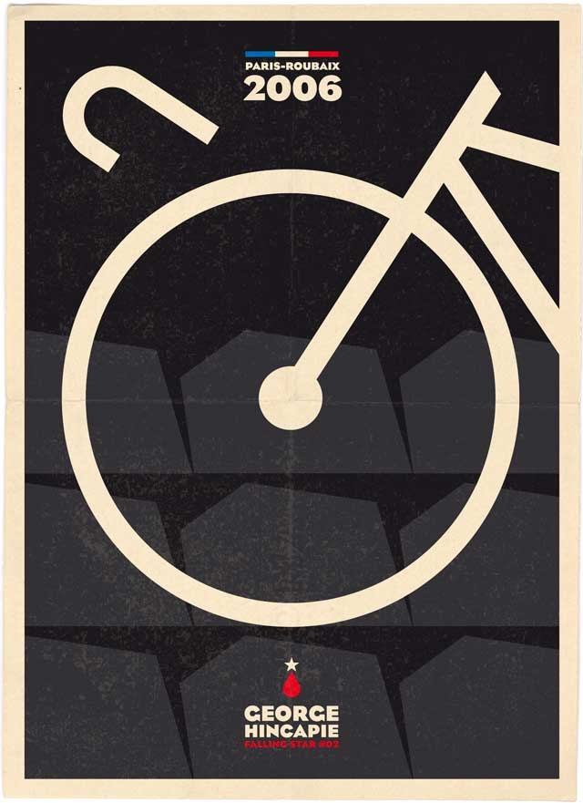 Falling Star #2: George Hincapie - Paris - Roubaix 2006. Hincapies handlebars broke when riding the cobble-stones.
