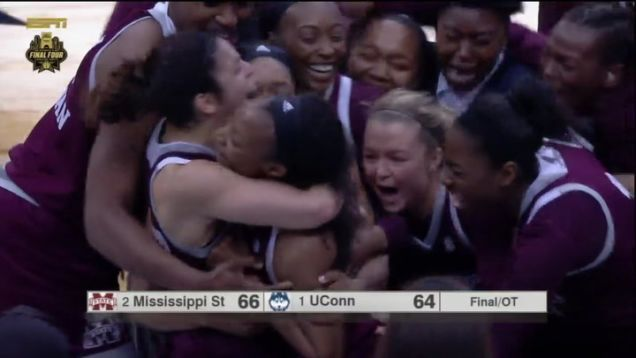 UConn is out of the NCAA tournament and its 111-game winning streak is over after Morgan William hit a buzzer-beater at the end of overtime to send Mississippi State to the women's championship game by the score of 66-64.