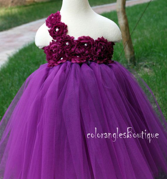 Flower Girl Dress Plum purple tutu dress by coloranglesBoutique, $86.00 Love the one shoulder and flowers but expensive for a dress?