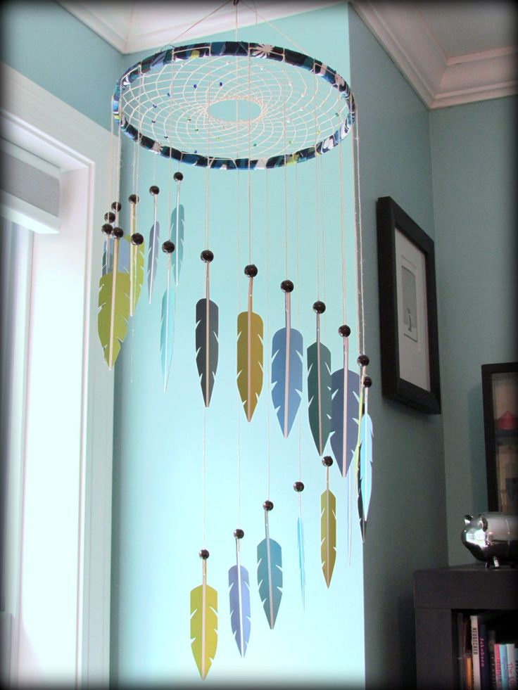 Dream Catcher Mobile - paint swatch mobile - paint chip mobile - feather mobile…