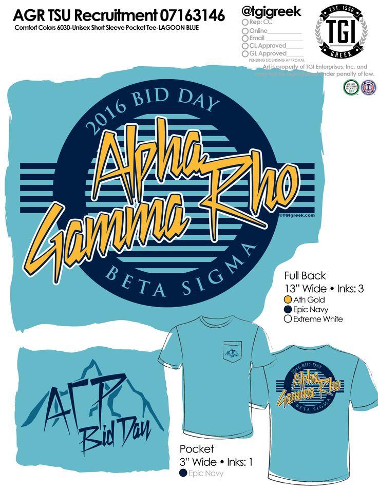 TGI Greek - Alpha Gamma Rho - Bid Day - Greek Apparel #tgigreek #alphagammarho