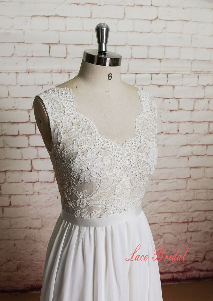 Sheer Ivory Lace Bodice Wedding Dress with A-line Chiffon Skirt by LaceBridal on Etsy https://www.etsy.com/listing/221724729/sheer-ivory-lace-bodice-wedding-dress