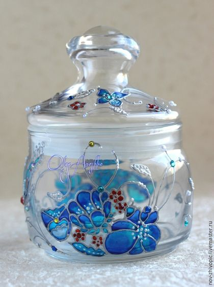 Sugar bowl | Hand painted stained glass.