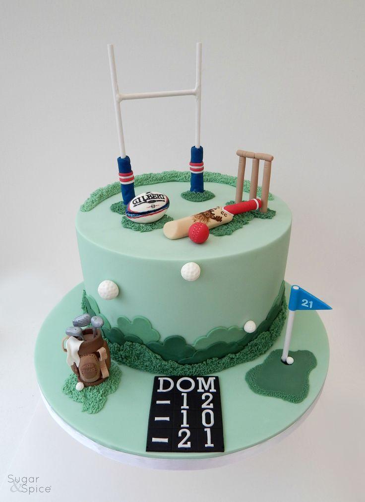 Sports cake - Rugby cake - Golf cake - Cricket cake - birthday cake by Sugar & Spice Gourmandise gifts https://www.facebook.com/SugarandSpiceGourmandise