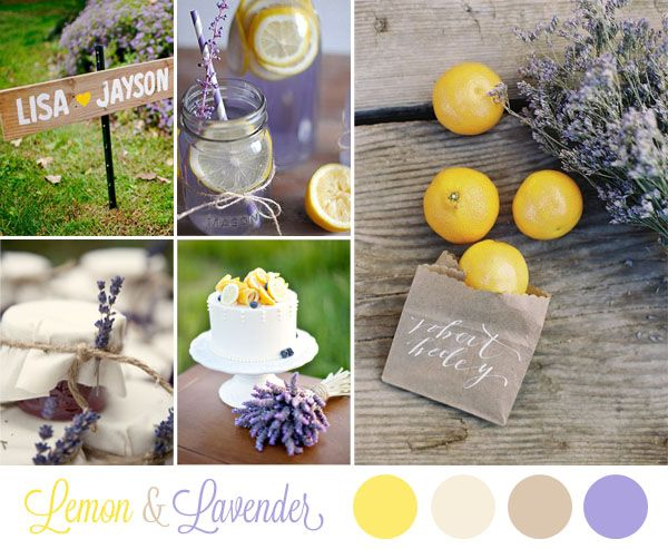 yellow and purple wedding inspiration board - lemon and lavender wedding