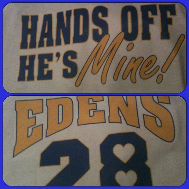 Cute football shirt to support my boyfriend. Front says Han off he's mine. Back has last name and number
