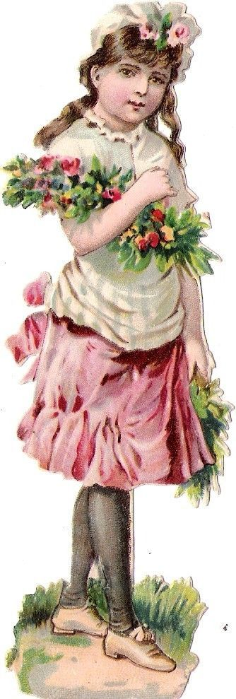 Oblaten Glanzbild scrap die cut chromo Kind child 12,8 cm  Blumen flowers
