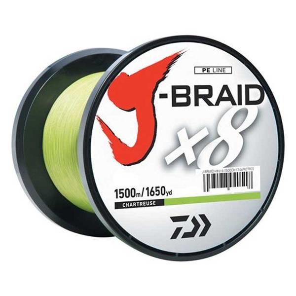 Daiwa J-Braid X8 1500m Chartreuse geflochtene Angelschnur
