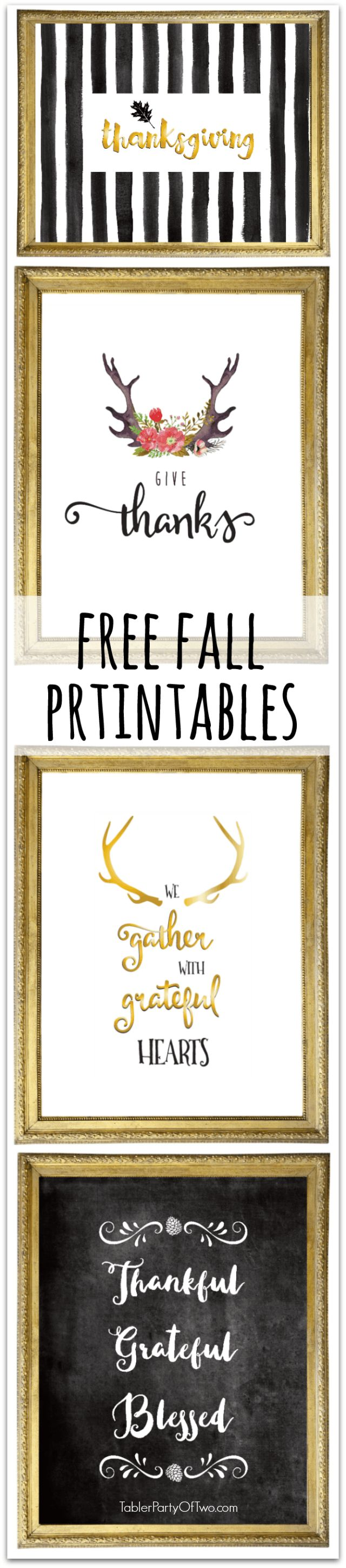 Free Thanksgiving Printables to for your fall and Thanksgiving decorating! TablerPartyofTwo.com