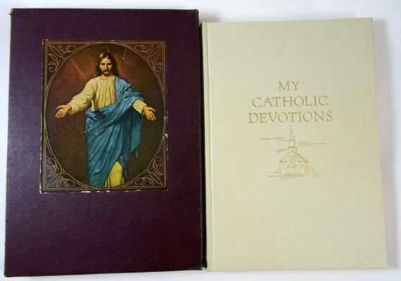 Beautiful book of catholic devotions with full-page color images. Published by Good Will Publishers in 1955. #adoredblessings
