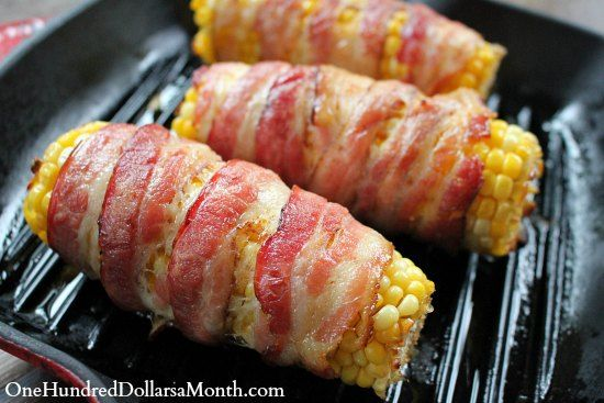 Bacon Wrapped Corn on the Cob ~ I'm going to try this on the grill ... placing them on crumpled alum-foil in a tin pie pan....to avoid grease flare-ups.