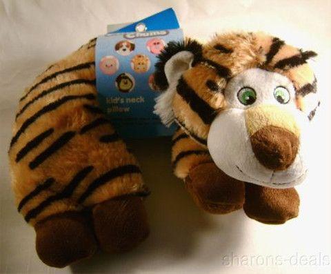 Tiger Kellytoy Neck Support Pillow Chums Kids Travel Plane Car Toddler Plush NEW