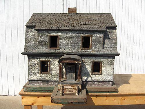RARE ANTIQUE FOLK ART METAL ARCHITECTURAL MODEL HOUSE HOME DISPLAY