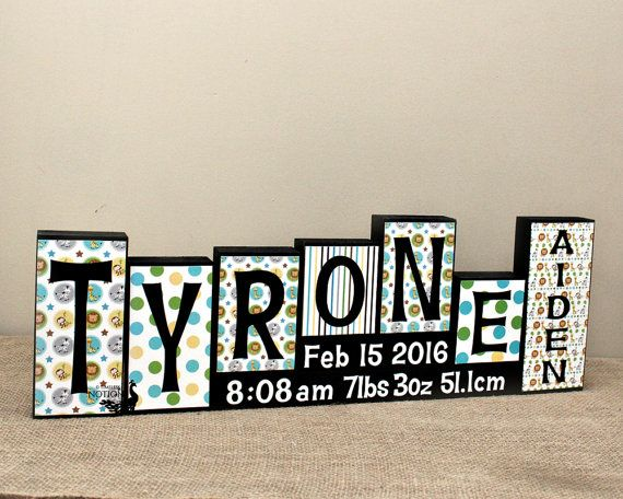 Custom Baby Name Letter Blocks Decor Personalized Gift Birth Stats 6 Letters First And Middle Wooden