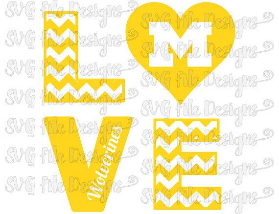 Chevron Love University of Michigan Wolverines Football Logo Cutting File / Clipart in Svg, Eps, Dxf, Png, and Jpeg for Cricut & Silhouette