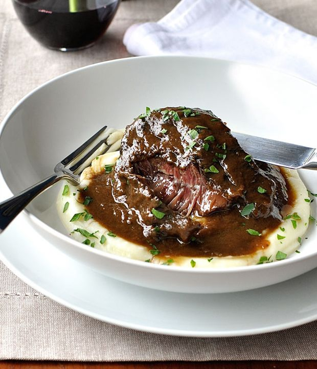 Slow Cooked Beef Cheeks in Red Wine with Creamy Mashed Potatoes Recipe - RecipeChart.com